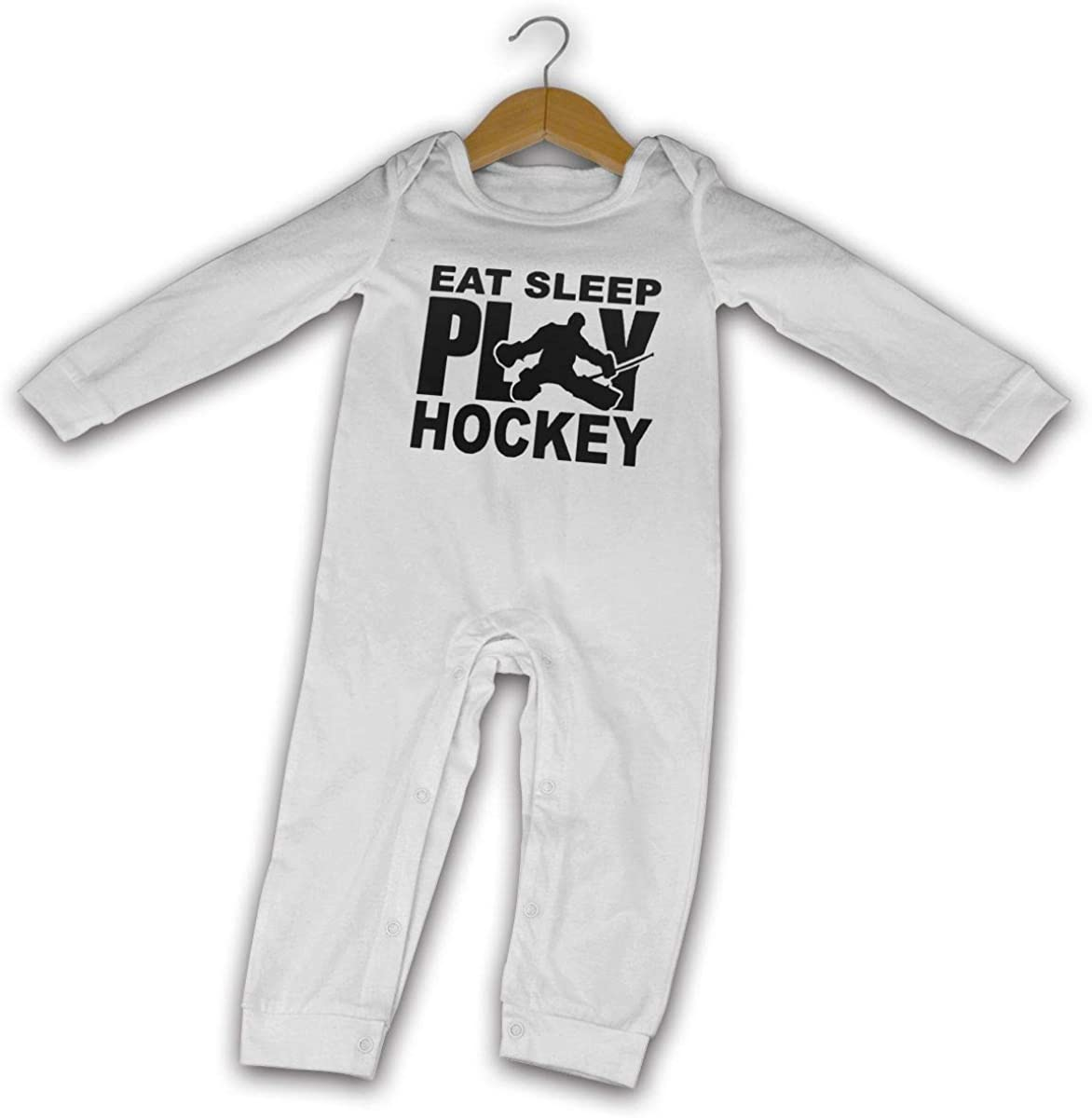Long Sleeve Cotton Rompers for Baby Girls Boys Soft Retro Style Hockey Silhouette Jumpsuit Black