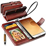 Samsung Galaxy A9 (2016) / Samsung Galaxy A9 Pro Rich Wallet Flip Leather Stand Case Cover Book Pouch / Quality Case ( Premium Quality) Antique Leather Case for Samsung Galaxy A9 (2016) - With Mini Touch Stylus Pen Brown