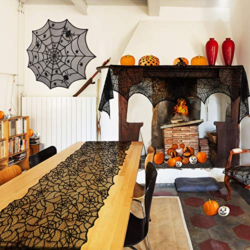 Boao 3 Pieces Halloween Decorations Set, Round Spiderweb Tablecloth, Cobweb Fireplace Scarf, Halloween Spiderweb Table Runner for Dinner Party, Festival Party