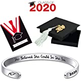 Ldurian 2020 Bracelet for Graduation, Inspirational Grad Bangle Cuff for Women, Graduate Gift for Her, College Senior Bracelet, Graduation Jewelry with 2020 Cap Box & Card & Bag