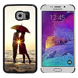 LECELL--Funda protectora / Cubierta / Piel For Samsung Galaxy S6 EDGE SM-G925 -- Sunset Umbrella Lovers Love Heart Kiss --