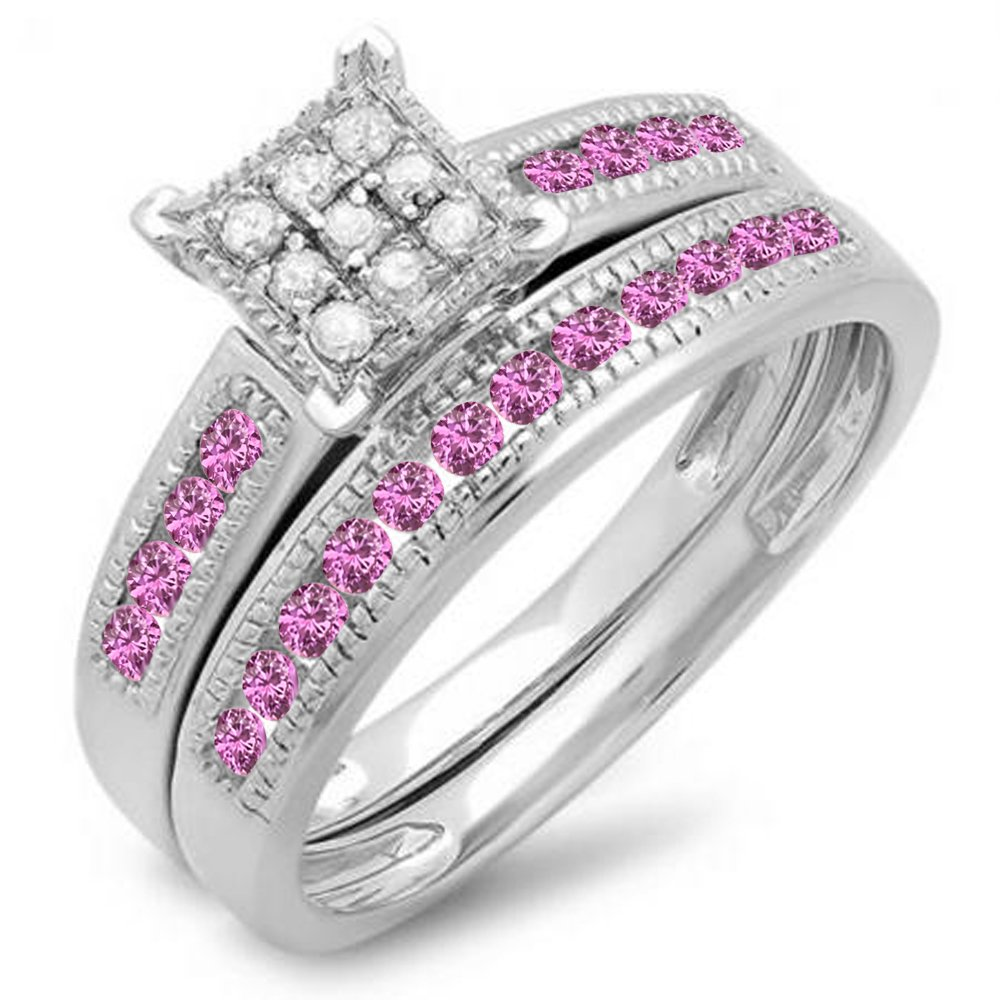 Sterling Silver Pink Sapphire & White Diamond Engagement Ring Set (Size 7)