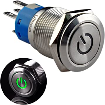 mxuteuk 19mm Latching Push Button Switch 1 NO 1 NC SPDT ON//Off Silver Stainless Steel Shell with 12v Red Power Symbol Light with Wire Socket Plug Suitable for 3//4 Mounting Hole L-19-POWER-T-R