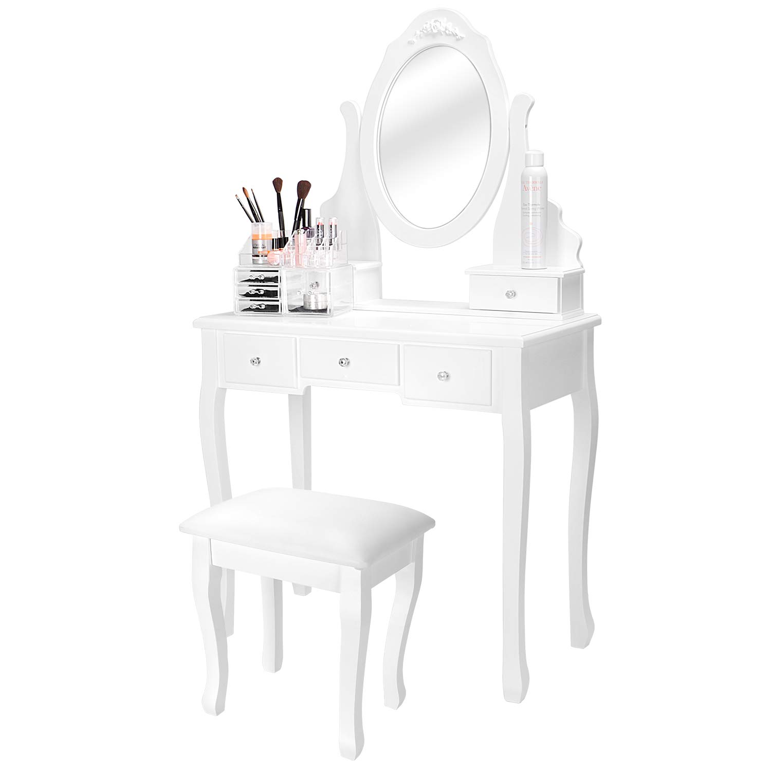 SortWise™ Vanity Table Set with Oval Mirror and Cushioned Stool, Multifunctional Makeup Dressing Table Writing Desk with 5 Drawers, White