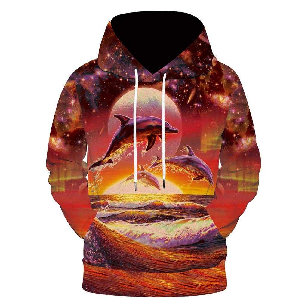 Close-dole Unisex Fashion 3D Digital Galaxy Pullover Hooded Long Sleeve Hoodie Sweatshirt Athletic Casual with Pockets Red by Close-dole