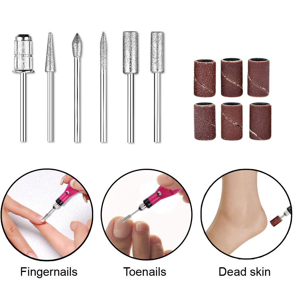 Electric Nail File Drill, Kathy Professional Finger Toe Nail Care Machine Handpiece Grinder with Polishing Manicure Pedicure Kit With File Buffer Bits for Acrylic Gels Nails -Rose Red