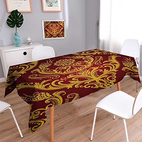 PRUNUSHOME Linen Water Resistant Tablecloth Luxury red & gol