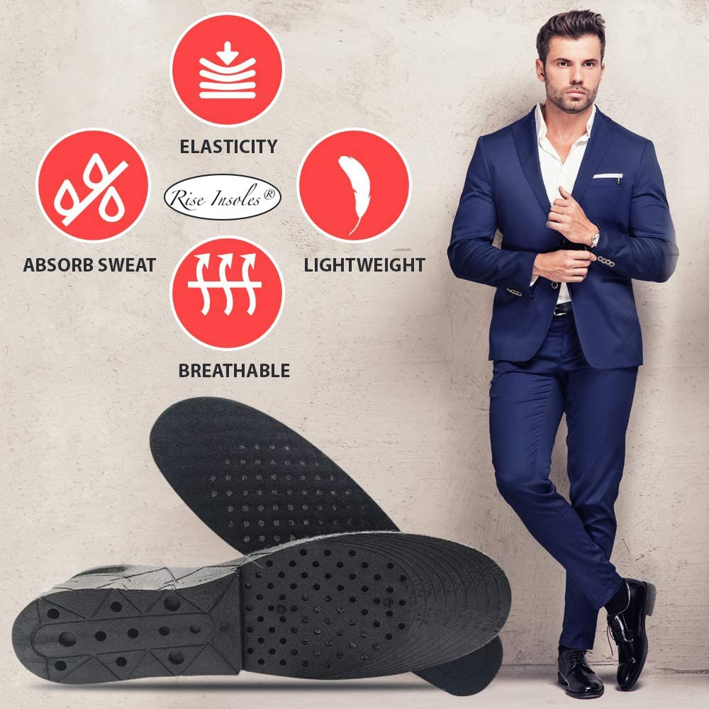 Height Increase Shoe Heel Insole Lift Taller Cushion Air Insert Men Insoles Pad