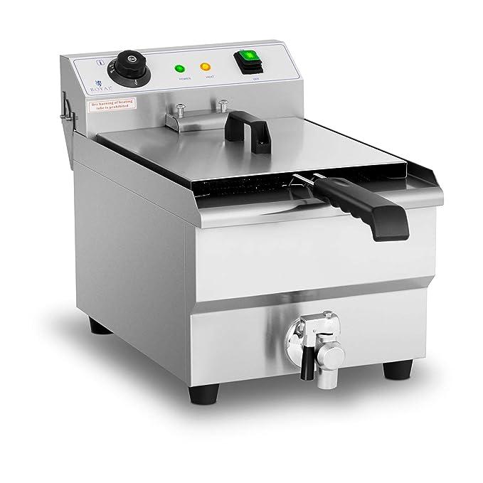 Royal Catering Freidora Eléctrica Profesional RCEF-13EHB (3.200 Watt, Temperatura: 60-200 °C, Con Zona Fría y Grifo De Vaciado, 13 Litros): Amazon.es: Hogar