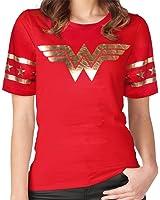 GRACES Wonder Women Golden Foil Short Sleeve Red Girls T-shirt,Wonder Woman Red Girls T-shirt