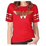 [GRACES]Wonder Women Golden Foil Short Sleeve Red T-shirt,Wonder Woman Red T-shirt