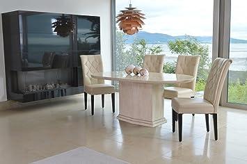 Beige Stühle modernes oval marmor esstisch 4 beige stühle amazon de küche
