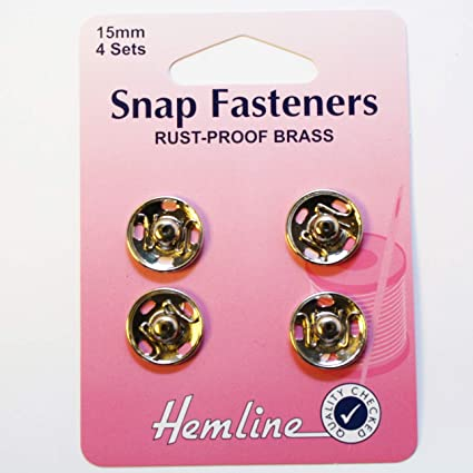 4 Sets Nickel Brass Rust Proof Sew On Snap Fasteners Hemline H420.15 15mm