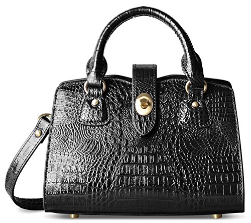 (PIFUREN Women Crossbody Handbags Satchel Crocodile Shoulder Bag Top Handle Purse (C69654S Black))