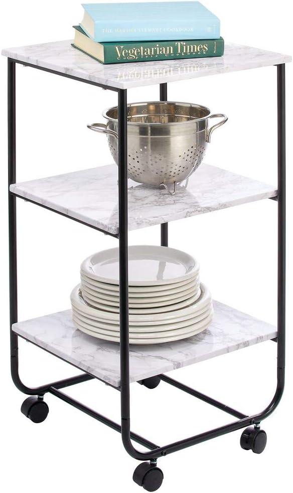 marmo//nero mDesign Tavolino con rotelle Pratico mobiletto con ruote per il bagno Moderno carrello portaoggetti a 3 livelli la cucina o la camera dei bambini