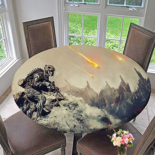 Mikihome Luxury Round Table Cloth for Home use Futuristic Mechanical Armed Sier in Battle Alien Planet Save The Grey for Buffet Table, Holiday Dinner 50