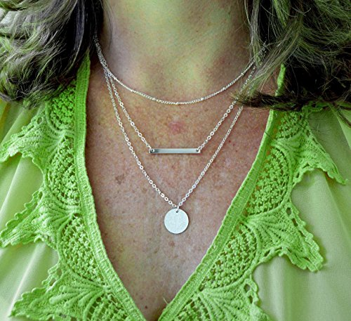Layer Necklace Bar Disc Dew Drop Handmade Strand Jewelry - Disc Strand Multi