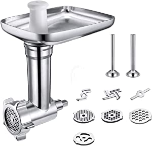 WEZVIX Metal Food Grinder Attachment for KitchenAid Stand Mixers, Meat Grinder Attachment Great for KitchenAid Stand Mixers Include 2 Sausage Stuffing Accessory