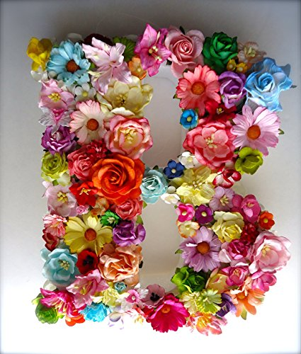 Paper Floral Monogram Letter made with Handmade Mulberry Paper Flowers