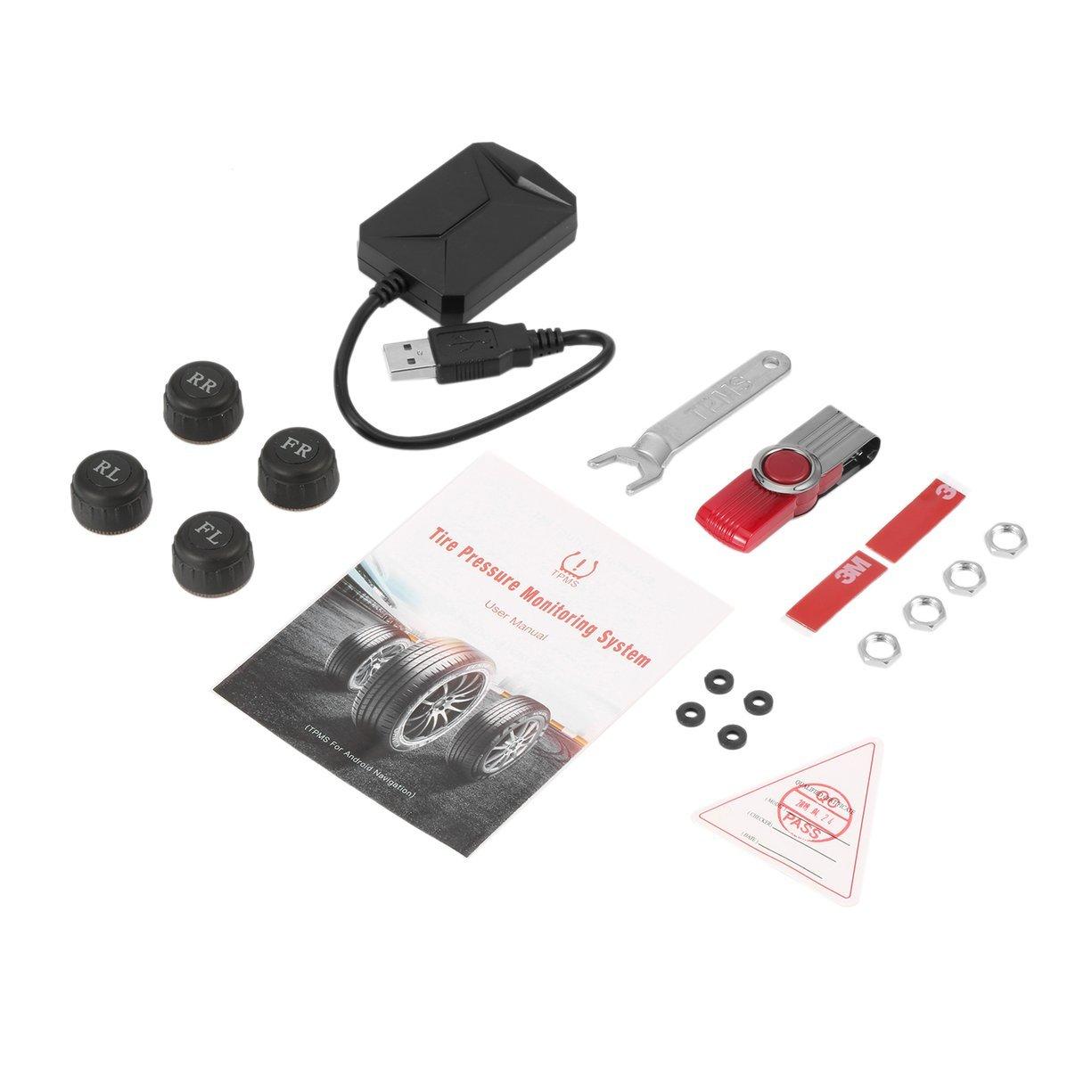 Detectoy 4xExternal Sensoren, Universal USB Auto TPMS Android Reifendruckkontrollsystem mit 4 externen Sensoren Auto Security Alarm Systems
