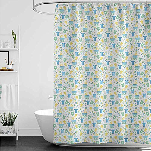 AndyTours Waterproof Bathtub Curtain,Baby Retro Newborn Items Stroller Rubber Duck Milk Bottle Pin Pyjamas Pattern,Metal Build,W55x84L,Blue Yellow Mint Green