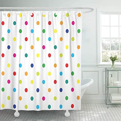 Emvency Shower Curtain Colorful Rainbow Polka Dot Girl Kids Pattern Blue Geometric Curtains Sets With