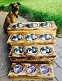 Triple Extra Large Elevated Dog Dish // Extra Large 3 Bowl Feeding Stand // Dog Dish // Elevated Dog Bowl
