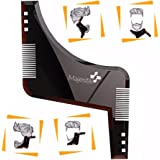 The Beard Styling Template- Stencil for Men - Lightweight and Flexible - One Size Fits All - Curve Cut, Step Cut, Neckline & Goatee Beard Shaping Tool (Brown)