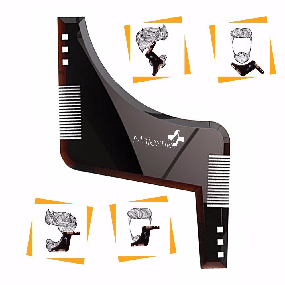 The Beard Styling Template- Stencil for Men - Lightweight and Flexible - One Size Fits All - Curve Cut, Step Cut, Neckline & Goatee Beard Shaping Tool (Brown) JLS Personal Care Ltd.