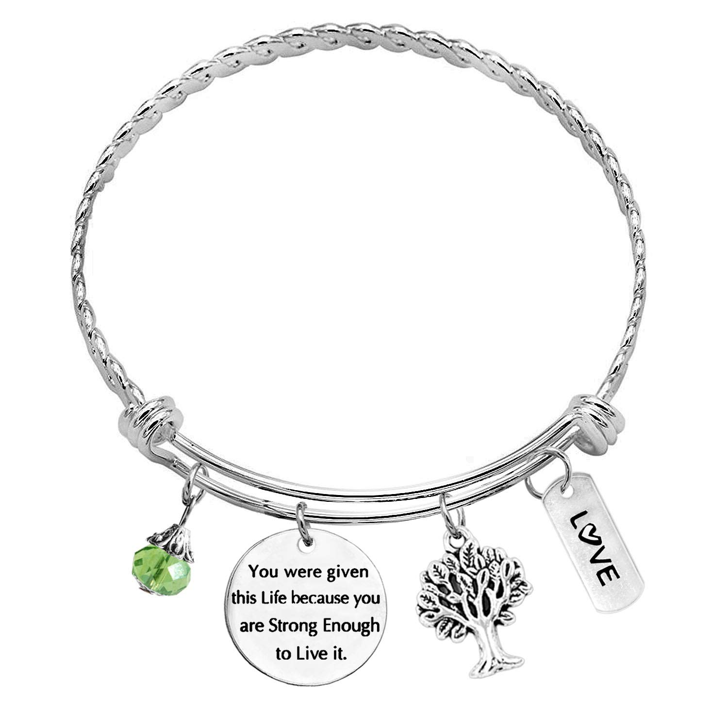 TISDA You were Given This Life Because You are Strong Enough to Live It Braided Twisted Bangle,Inspirational Birthday Gifts Charm Bracelets