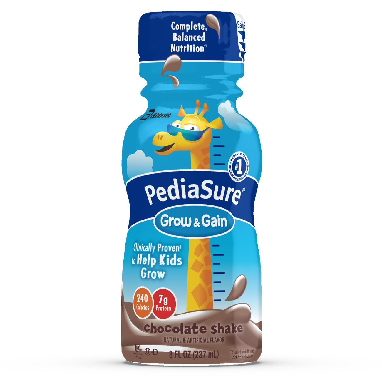 PediaSure Grow & Gain Nutrition Shake For Kids, Vanilla, 8 fl oz (Pack of 16) Abbott Laboratories 070074643892