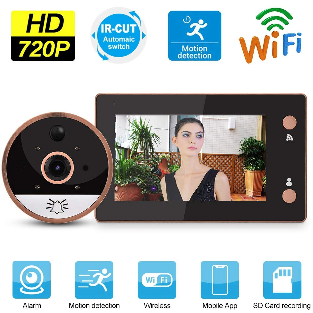WiFi Smart Video Doorbell 4.3in 720P HD WIFI Cat Eye Camera Peephole Viewer Monitor Video Door Phone Kit IR Night Vision Motion Detection by Sonew (Image #2)