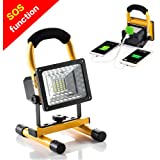 Rechargeable Work Lights, GRDE [15W 24LED] Outdoors Camping Emergency Lights with SOS Mode, Portable Floodlights with Built-in Lithium Batteries and 2 USB Ports to Charge Digital Devices (Yellow)