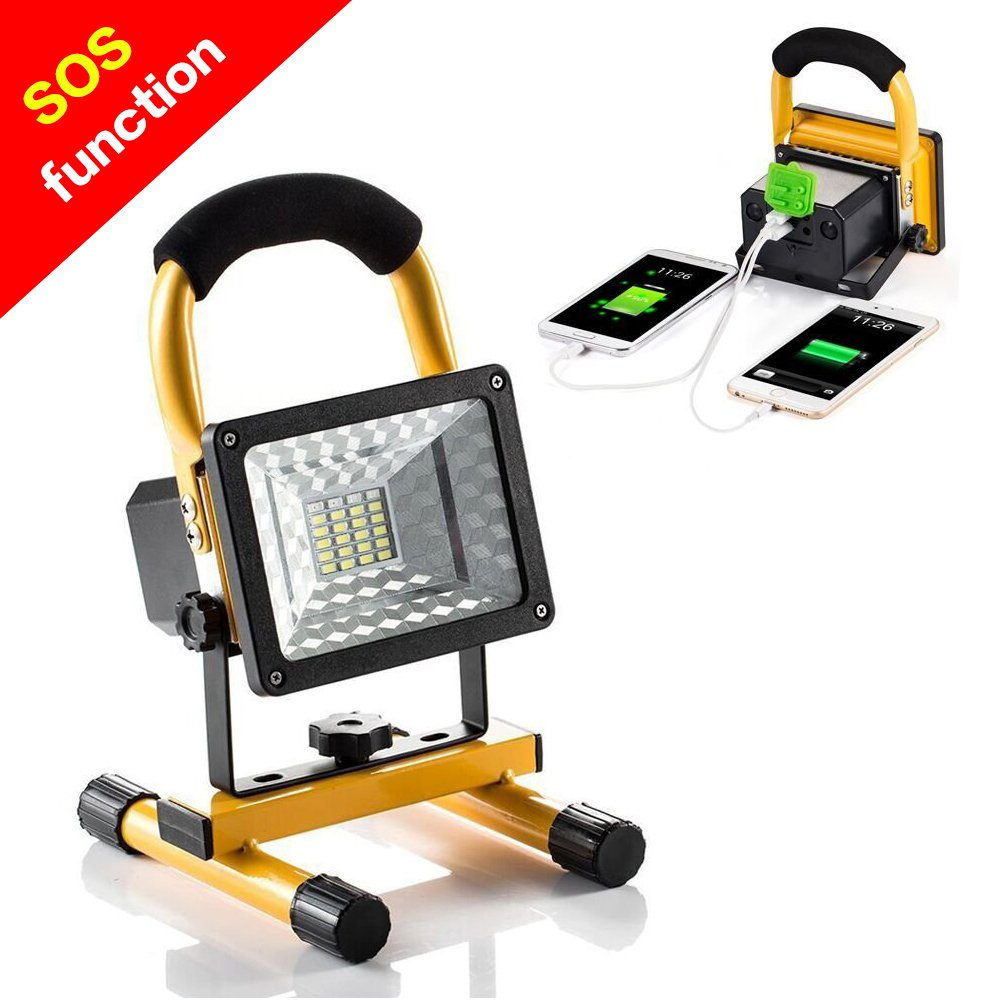 Rechargeable Work Light BESWILL 15W 24LED Outdoors Camping Emergency Light with SOS Mode Portable Floodlight with Built in Lithium Batteries and 2 USB Ports to Charge Digital Devices Yellow