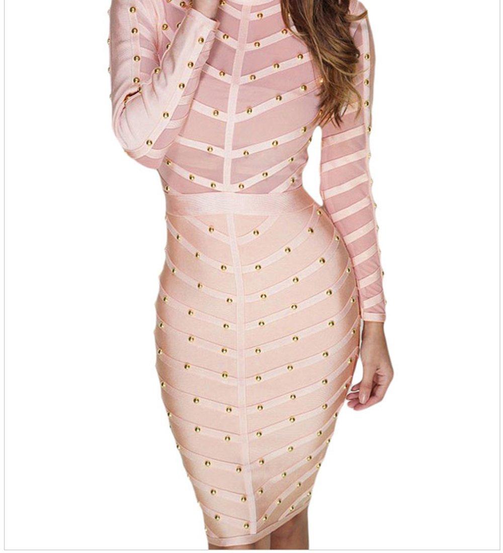 YeeATZ Pink Studded Mesh Bandage Dress(Size,L) by YeeATZ