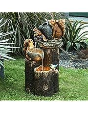 Duck Water Fountain Statue, Duck Squirrel Pressure Water Outdoor Fountain Statue, Solar Powered Resin Sculpture Cascading Garden Decor Statue