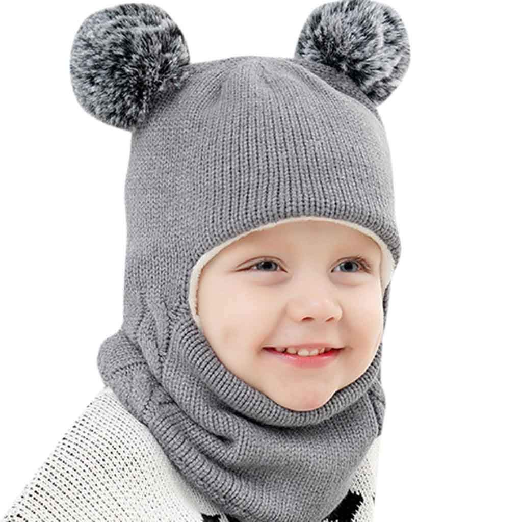 488838cafde Zerototens Baby Girls Boys Toddler Winter Hat Scarf Set Warm Earflap Hood  Cute Knit Hat Circle Loop Scarf Skull Cap ...