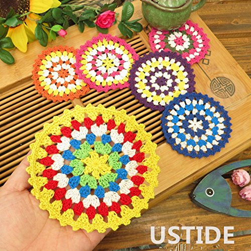 Ustide Hand Crocheted Doilies Lace Table Placemats Coloful Crochet Round Table Doilies Multi Color,12pcs
