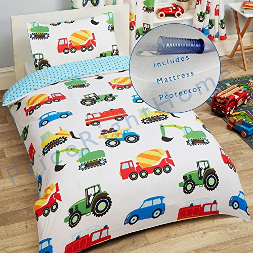 Mattress Towelling Protector (Trucks and Transport Junior/Toddler Duvet Cover and Pillowcase Set + Toddler Bed Mattress Waterproof Cover 140 x 70cm)
