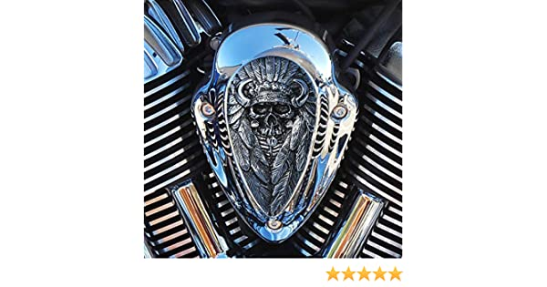 Native Spirit horn cover insert in aged aluminum for All Indian motorcycles 2014 and up except Scout
