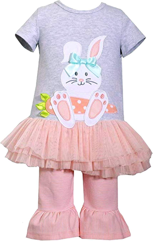 Bonnie Jean Girls Easter Bunny Seersucker Dress Outfit Set w// Capri 2T 3T 4T