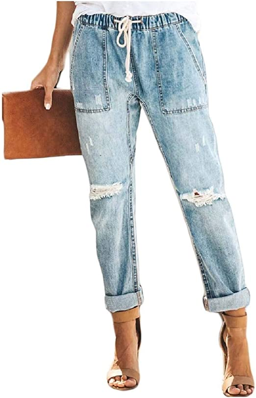 Tootess Womens High Rise Causal Skinny Ripped Distressed Straight Jeans