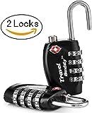 Travel Buddy  Security Padlock - 4-Dial Combination Travel Suitcase Luggage Bag Code Lock (Black) x 2