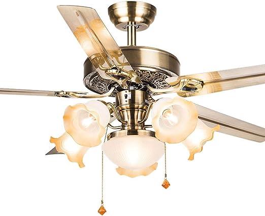 Ventilador de techo para restaurante, hojas de hierro, luz para ...