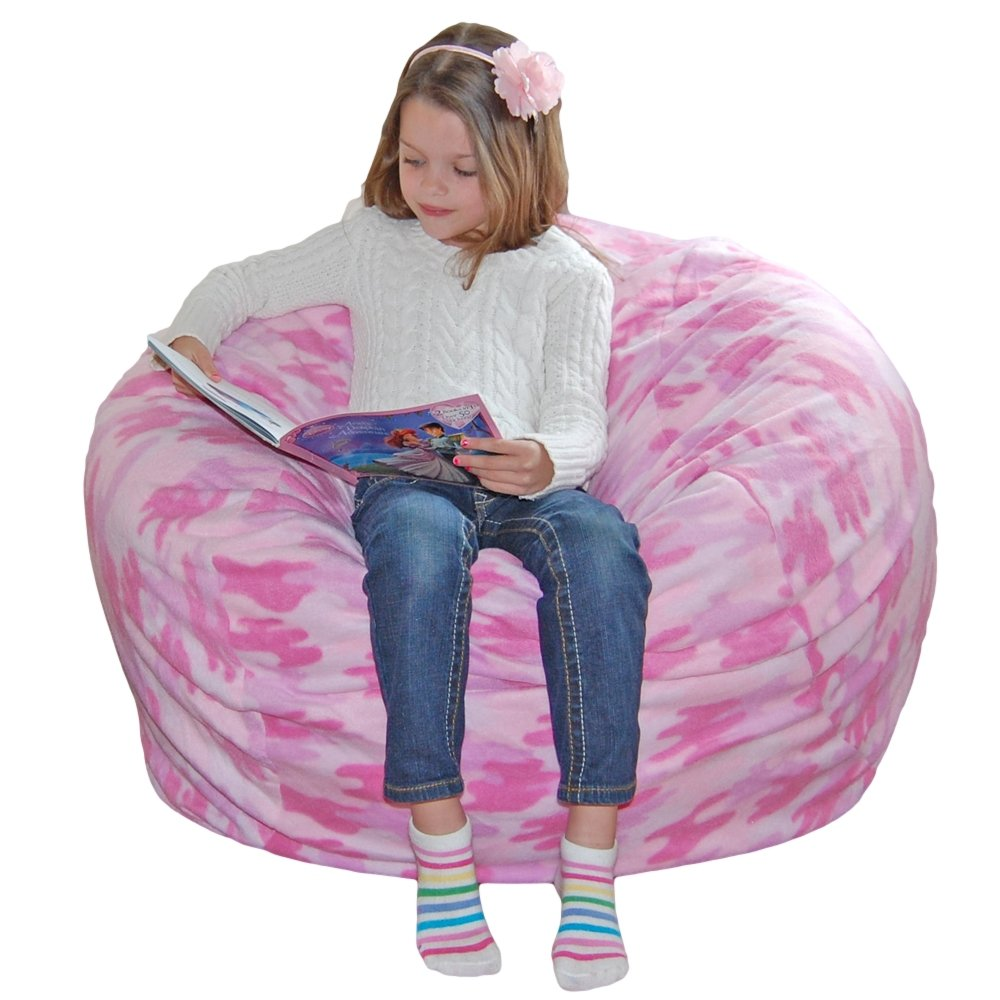 Ahh Products Pink Camouflage Anti-Pill Fleece Washable Large Chair テレビで話題 Bean 新登場 B00BJE9KA2 Bag by