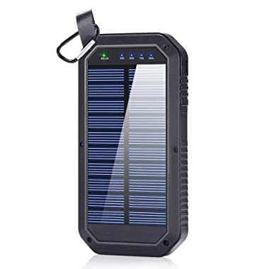 BESWILL Solar Charger 8000mAh, 3 USB Ports and 21 LED Light Portable Solar External Battery Power Bank Phone Charger Compatible for Smart Devices