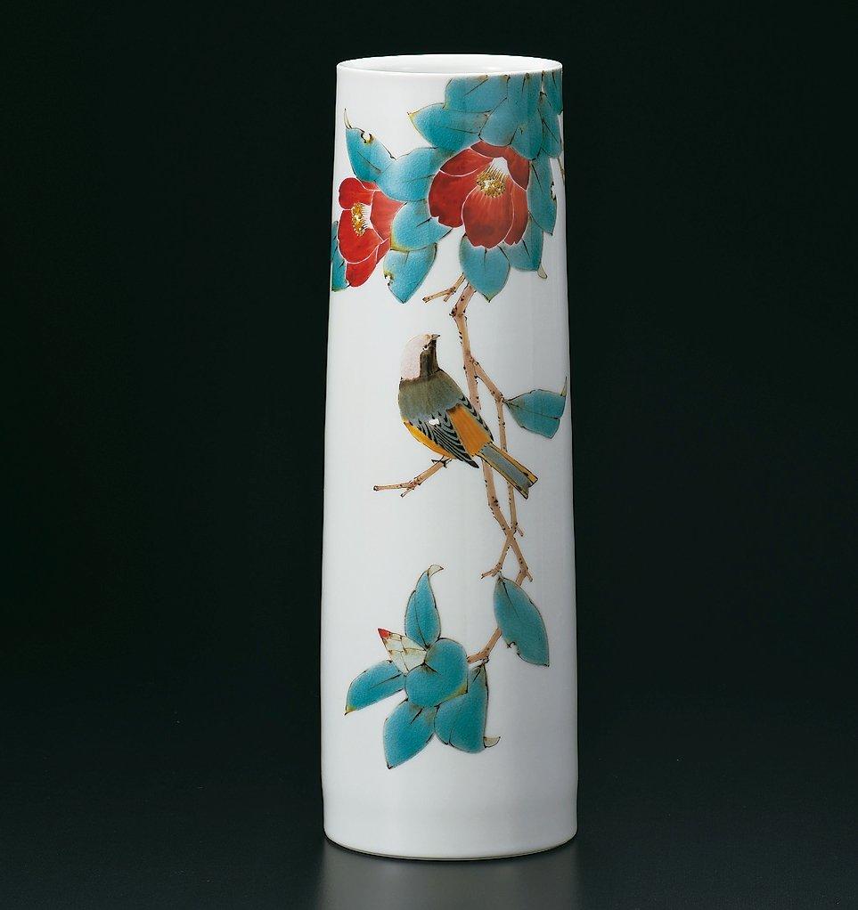 九谷焼 11号花瓶 椿に尉鶲 作家名 : 山田義明 (伝統工芸士) B074PGSXPZ