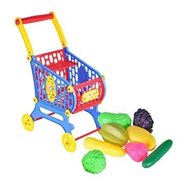 Amazon.es: Baoblaze Mini Carrito de Compras con Comidas Accesorios Bricolaje para Casa de Muñecas - Carrito de Compras + Frutas: Juguetes y juegos