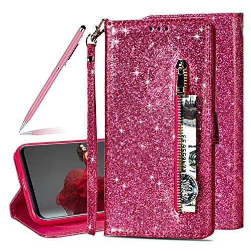 Price comparison product image Sequins Glitter Shiny Retro Multifunction Zipper PU Leather Flip Wallet Case for Huawei Mate 20 lite, SKYXD Luxury Bling Slim Magnetic Closure Stand Function Shockproof Protective Case(Rose Red)