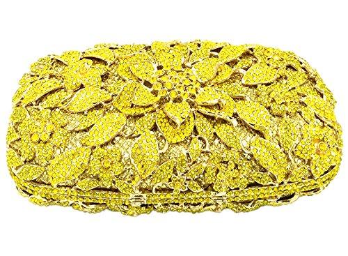 Mariage Chaîne Fleur Fête pour Pochette Clutch Sac Sac Femme Soirée yellow à Maquillage Bourse Main Bal Bandouliere ggfwUqrv